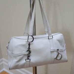 Authentic Dior White Leather Shoulder Bag